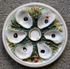 Rare1879+ Large Round Oyster Plate 6 wells Union Porcelain Works Brooklyn NY