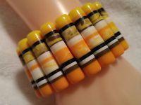 Yellow,White,Orange,Black Lucite ''Melted Crayon'' Stretch Bangle Bracelet