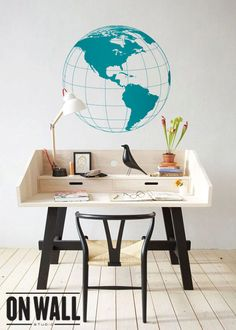 Large removable Globe wall decal Detailed Earth by ONWALLstudio