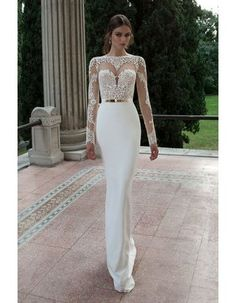 Vintage Celeb Style Backless Lace Appliques Long Sheath White Chiffon Prom Dress