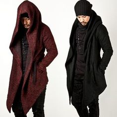 Outerwear :: Avant-garde Unbeatable Style Diabolic Hood Cape Coat Vol.2 (Black/Red) - 33 - New and Stylish - Fast Mens Fashion - Mens Clothing - Product