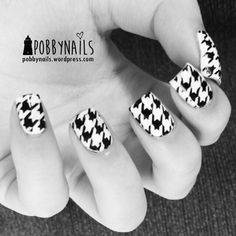 Houndstooth nails using QA81 plate from Born Pretty Store.  http://pobbynails.wordpress.com/2014/03/30/houndstooth-stamping-plate/