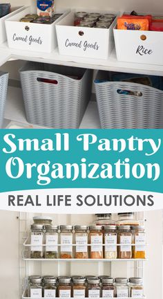 Small Pantry Organization - Tips and Tricks for practical solutions that work for shelves, door organizers, and other ways to keep a pantry clean and fresh. #foodstorage #pantry #organization #pantryorganization #kitchenorganization
