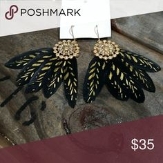 Free people earrings Nwt black and gold feather earrings Free People Jewelry Earrings
