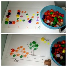 Save these caps and use them for play-based learning. I've pinned other ideas for what to do with the colorful fruit and veggie pouch caps which are great. This was one of my own - simple picture and word drawings using colored dots that correspond to whatever color caps you have. Let them match the dots and create the 3-d picture or word. Enjoy!