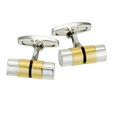 Complete a contemporary look, with these smart, two tone, bar cufflinks from Gaventa. The two tone gold and silver colour scheme brings a modern edge to a classic cufflink design.