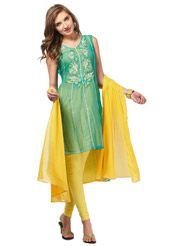 Green Faux Chiffon Readymade Churidar Kameez