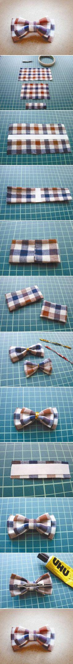 How to Make Pretty Plaid Bow Hair Clip #craft