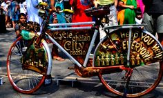 Save the city : Cycle - Nice message on the beautifully decorated bike.