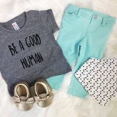 Be a Good Human Unisex Graphic T-Shirt, Handmade Funny T-Shirt, Baby Toddler Clothing, Childrens Clothing, Girls Grey Shirt, Boys Grey Shirt