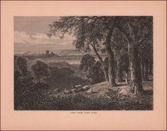 Philadelphia, City View from West Park, Sheep, antique engraving, print 1872 #antique