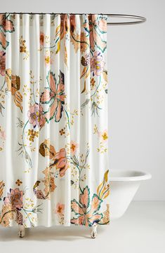 A slubby cotton shower curtain in a charming floral print lends fresh, vibrant color to any bathroom. Style Name:Anthropologie Home Porte Bonheur Shower Curtain. Style Number: Available in stores.
