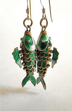 Vintage Chinese Koi fish earrings