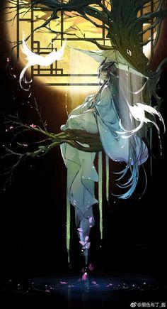 Would make a gorgeous painting. Lady umbrella sunset tree and bird. Would make a gorgeous painting. Lady umbrella sunset tree and bird. Anime Art Girl, Manga Art, Pandaren Monk, Anime Kimono, Image Manga, Fanarts Anime, China Art, Beautiful Anime Girl, Anime Artwork