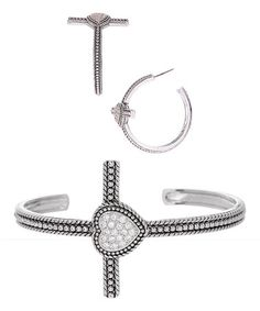 Love this Cubic Zirconia & Sterling Silver Cross Cuff & Hoop Earrings on #zulily! #zulilyfinds
