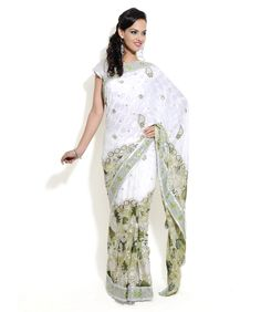 white and greenish multi colored embroidered saree - of brasso and silk jacquard