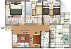 Plano casa económica de 62 metros cuadrados y 3 dormitorios