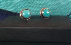 Turquoise handmade stud earrings by FlamesJewels on Etsy