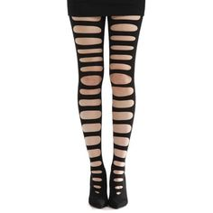 Front Slash Ripped Black Gothic Tights ($14) ❤ liked on Polyvore featuring intimates, hosiery, tights, pants, leggings, socks, bottoms, nylon stockings, ripped stockings and nylon hosiery