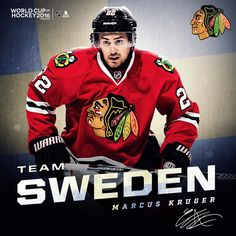 Marcus Kruger will represent Team Sweden in the 2016 World Cup of Hockey! Blackhawks Hockey, Chicago Blackhawks, Hockey World Cup, Tyler Seguin, Boston Bruins, Hockey Players, Ice Hockey, Nhl, Sweden