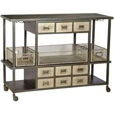 Industrial Bar Cart, Antique Nickel/black Four Hands   Crafted with iron and steel that features a raw black and an antique nickel finish. The quirky and unique Industrial Bar Cart is definitely a standout that is sure to draw attention in any room. Perfect for social events and gatherings, this amazing piece will take away the hardships of serving guests without sacrificing the quality. $1,563.75