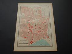Original 1896 old map of Barcelona Spain city plan Stadtplan antieke oude plattegrond van by DecorativePrints