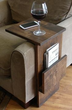 Sofa Chair Arm Rest TV Tray Table Stand with Side Storage Slot for Tablet Magazine.need to make one of these for the living room.