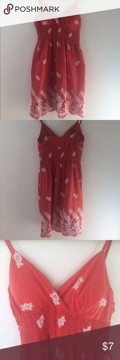 Here comes the sun ☀️bohemian sundress Some like it hot. Light, embroidered, orange, spaghetti-strap sundress. Lined cups. Minor wear (pilling, some loose threads/stitching). Great for hot summer days in white or light brown sandals and some dangly earrings! 👍 Dresses Midi