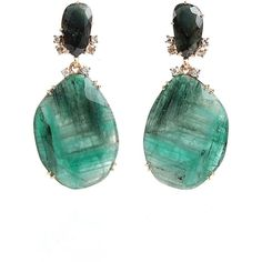 Federica Rettore Emerald Drop Earrings with Tourmaline ($12,285) ❤ liked on Polyvore