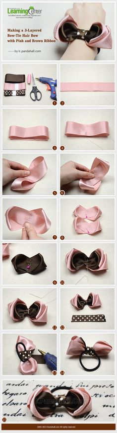 Making a 3-Layered Bow-Tie Hair Bow with Pink and Brown Ribbon