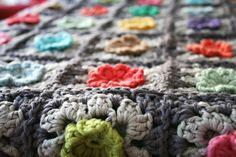 Dutch Bobble Flower Granny Square Blanket