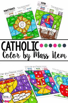 Check out this color by code designed to help Catholic kids learn the names of the items we use during Mass. Five different levels are included to accommodate a variety of levels from non readers on up. Catholic Catechism, Catholic Religious Education, Catholic Mass, Catholic Crafts, Catholic Prayers, Roman Catholic, Teaching First Grade, Teaching Kindergarten, Prayers For Children