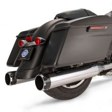 "S&S Mk45 Chrome Thruster with Black Contrast End Cap - Chrome Body Finish - 4.5"" Slip-On Muffler for 2007-'16 Touring Models"