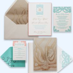 Tropical chic at its best! A tonal foil stamped envelope liner and invitation back adorn this unique, custom destination wedding invitation.  Designed by Ceci New York.