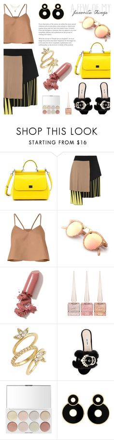 """""""Yellow & Nude..."""" by unamiradaatuarmario ❤ liked on Polyvore featuring Dolce&Gabbana, FAUSTO PUGLISI, TIBI, LAQA & Co., Christian Louboutin, Luv Aj and Miu Miu"""