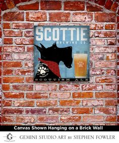 Scottie Brewing beer Company Scottish Terrier original graphic art on gallery wrapped canvas by Stephen Fowler