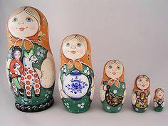 Russian Matryoshka Babushka Wooden Nesting Stacking Doll Girls with Toys 5 Pcs | eBay