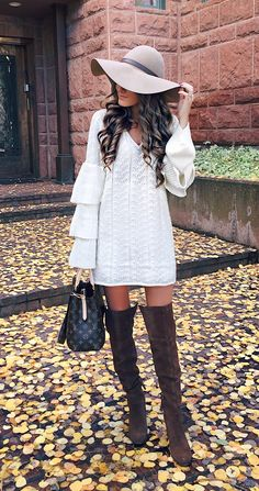 sweater dress with over-the-knee boots