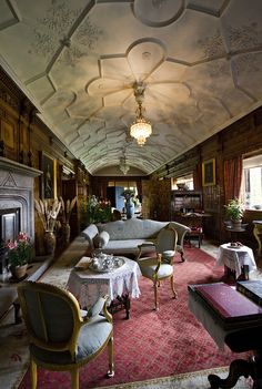 The Drawing Room, Lanhydrock, Cornwall an original Jacobean era house, rebuilt after 1881 fire