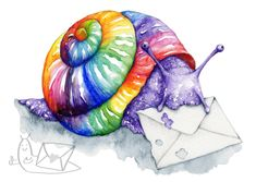 Range of thoughtful and uplifting postcards on this site, by a range of artists. 'Snail Mail' Art Postcard by Katy Jones Colored Envelopes, Snail Mail, Snails, Pyrography, Postcards, Range, Stamp, Artists, Illustration