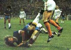 Holland 2 Brazil 0 in 1974 in Dortmund. Marinho Chagas dives trying to win a penalty in Round 2, Group A at the World Cup Finals.