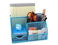 Mesh Desk Organizer 5 Compartment Office Supplies Caddy Pen Holder Card Case Organizer Storage Box with Drawer ,Green