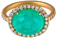 I've always wanted an emerald ring, my son's birthstone. - vintage emerald cabochon with diamonds in 18k gold at One Kings Lane