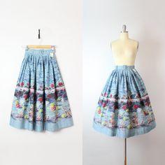 vintage 50s novelty print skirt / 1950s by archetypevintage
