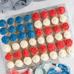 American flag cupcakes are super easy to make, especially when you start with a box mix. Great for your patriotic dessert table! If youre looking for a really easy, but equally impressive patriotic dessert, these American flag cupcakes are the perfect fit. We use a boxed cake mix and canned frosting for convenience, making this a quick addition to your party dessert table! Perfect for Memorial Day or the 4th of July, this American flag cupcake cake is a show stopper.