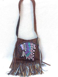 Raviani Indian Head Chief Aztec Western Leather Cross Body Handbag Purse Fringe #Raviani #MessengerCrossBody