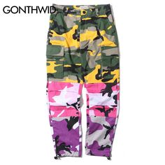 Cheap joggers sweatpants, Buy Quality fashion sweatpants directly from China camouflage trousers Suppliers: GONTHWID Tri Color Camo Patchwork Cargo Pants Men's Hip Hop Casual Camouflage Trousers Fashion Streetwear Joggers Sweatpants