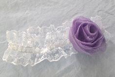 White Lace Baby Headband with Purple Tulle Flower by AmandaKateL, $9.00