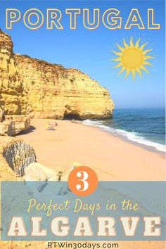 "Portugal's magnificent Algarve coast is one of Europe's most popular holiday destinations...and with good reason! Nicknamed the ""sunshine region,"" this relaxed Mediterranean retreat boasts year-round sunshine, wide sandy coves, azure waters, and soaring golden cliffs. A boat trip along the dramatic coastline is one of the top things to do. Here's everything you need to know to make the most of 3 days in the Algarve, from great hotels to things to do! #travel #portugal #algarve #hotel"