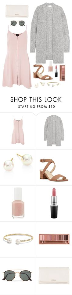 """Cutesy Lunch Date"" by madelynn0996 ❤ liked on Polyvore featuring Topshop, Acne Studios, Majorica, Nine West, Essie, MAC Cosmetics, David Yurman, Urban Decay, Ray-Ban and Kate Spade"